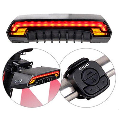 OUTERDO Bike Tail Light,Waterproof Bicycle LED Rear Light Wireless Remote USB Charging Safety Beams Lamp Warning Flashing Turn Signal Light Indicator