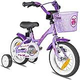 Prometheus 2021 - Bicicleta para niña (12 pulgadas, con ruedas de apoyo, a partir de 3 años, contrapedal, 12 pulgadas), color lila y blanco
