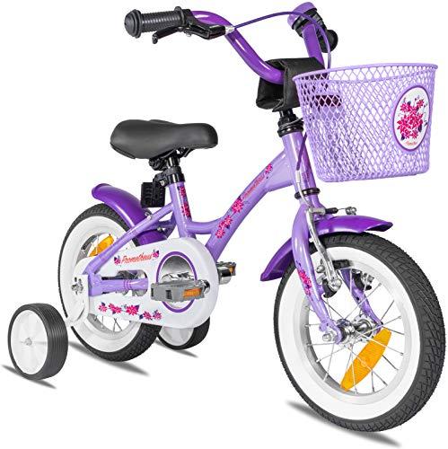 Prometheus Mädchenfahrrad 12 Zoll mit Stützräder Kinderfahrrad ab 3 Jahre Mädchen Rücktritt 12zoll Modell 2021 in Lila Weiss