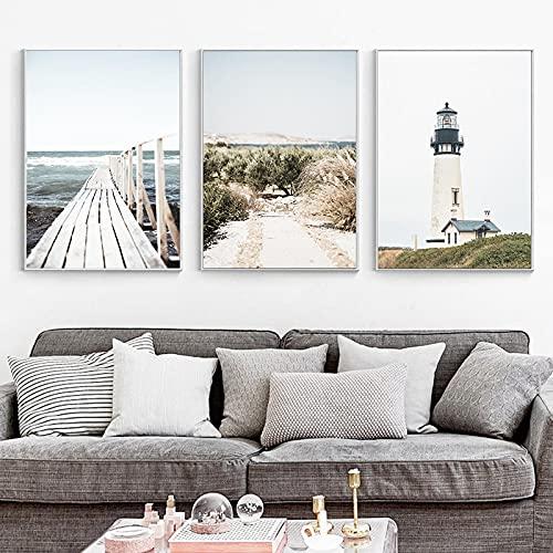Artwork - Póster nórdico de verano con diseño de paisaje del mar (50 x 70 cm)