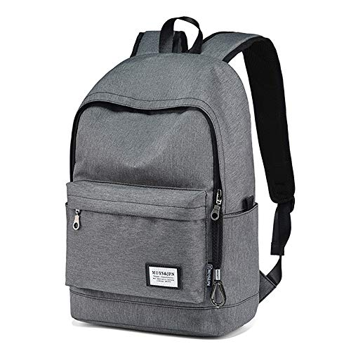 Zewoi Zaino College School Bookbag Laptop Bag Impermeabile Leggera-Grande capacità (Grigio),Standard