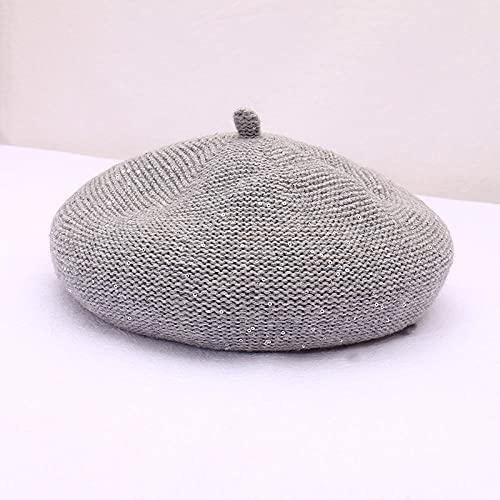WQZYY&ASDCD Boinas Sombreros Gorras Sombrero De Punto De Color Sólido De Boina De Moda para Mujer con Lentejuelas Tamaño Ajustable Lindo Sombrero-Gris Claro_M (56-58Cm)