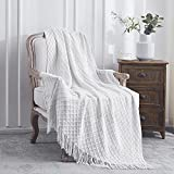 Lunarose Throw Blanket for Couch,Soft Cozy Knit Blanket with Tassel,Lightweight Decorative Throw for Sofa Chair Bed Travel and Living Room-All Seasons Suitable for Women,Men and Kids (50'x60', White)