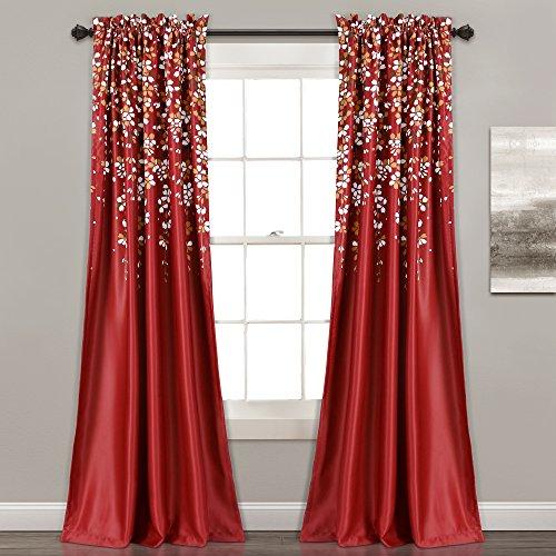 "Lush Decor Weeping Flower Room Darkening Window Curtain Pair, Panel 84"" x 52"", Red"