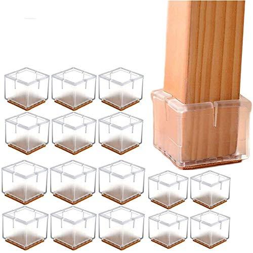 YGMXZL 16 pieza Tapones de silicona cuadrados para las patas de las sillas,Tapas de la Pata de Mesa Silicona,Tapas para patas de mesa cuadradas transparentes,para patas de mesa (49-55MM)
