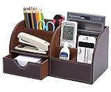 KINGFOM Büro Schreibtisch Organizer Ordnungssystem Tisch Organizer PU Leder Stiftehalter Stiftebox...