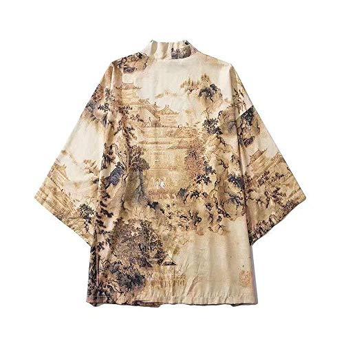 Japanse retro feng shui schilderij Robe Ukiyo en los in zeven punten shirt paar Kimono heren en vrouwen T-shirt