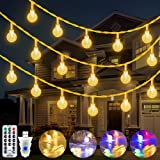 Ollny Kugel Lichterkette 15m, 100LED Globe USB Lichterkette mit Fernbedienung, Warmweiß und Mehrfarbig,11 Beleuchtungsmodi Weihnachtslichterkette Außen Innen,Balkon Lichterkette für Garten, Zimmer