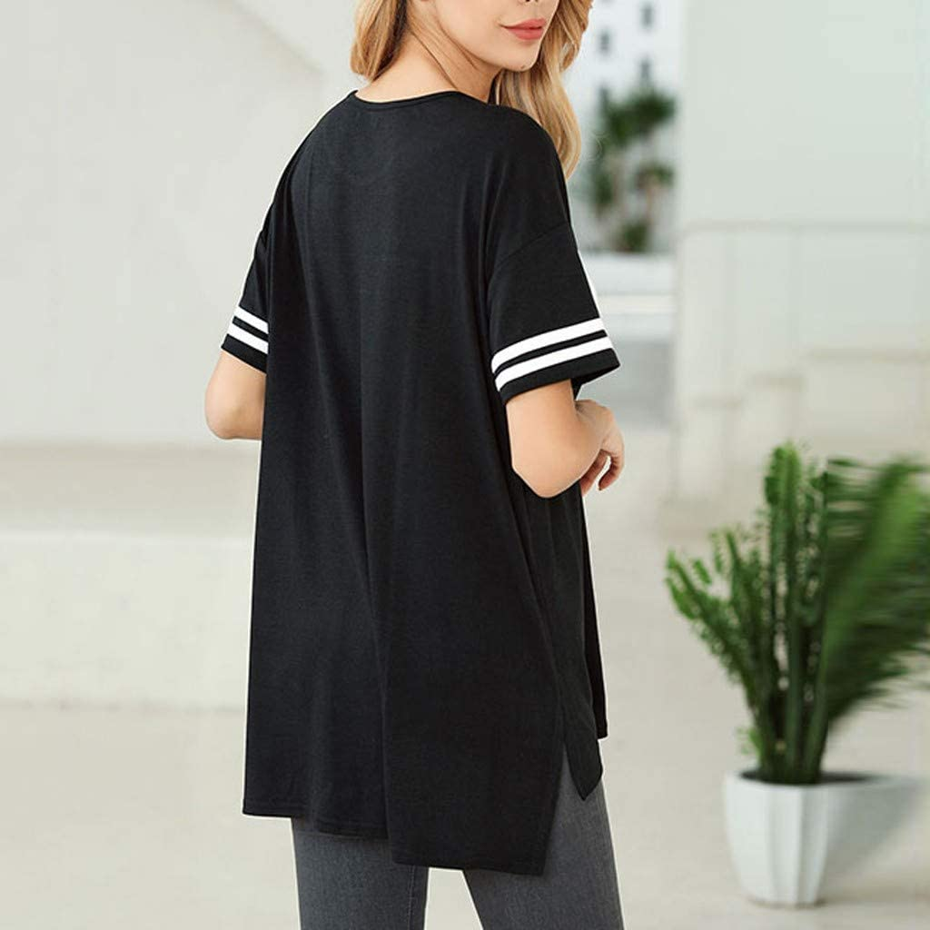 FEISI22 Women Short Sleeve Fit Casual Basic Tee Tops Summer T-Shirt Color Block T-Shirts Side Split Tunic Tops