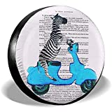Kncsru Zebra en Azul Vespa Cubierta del neumático de Repuesto Cubiertas Impermeables de Las Ruedas solares UV Apto para Jeep, Remolque, RV, SUV 14 Pulgadas