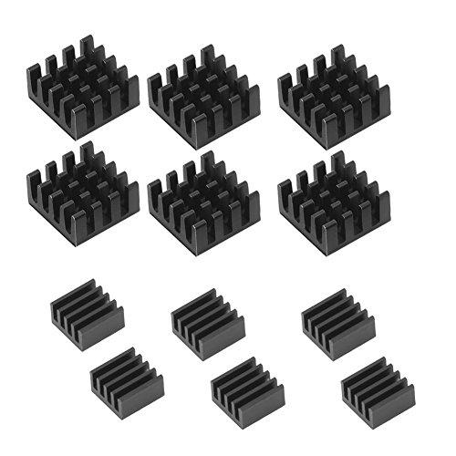 MUZOCT 12 pcs Aluminium Dissipateur thermique Cooler Cooling Kit pour Raspberry Pi 3, Pi 2, Pi Modèle B + Noir