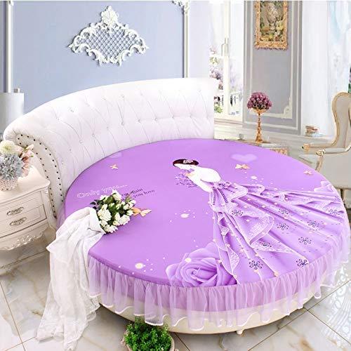 LCLC Hecho a medida de algodón redondo de la hoja de cama de una sola pieza de algodón redondo de la hoja de cuatro piezas de la cama redonda de la cubierta del colchón antideslizante