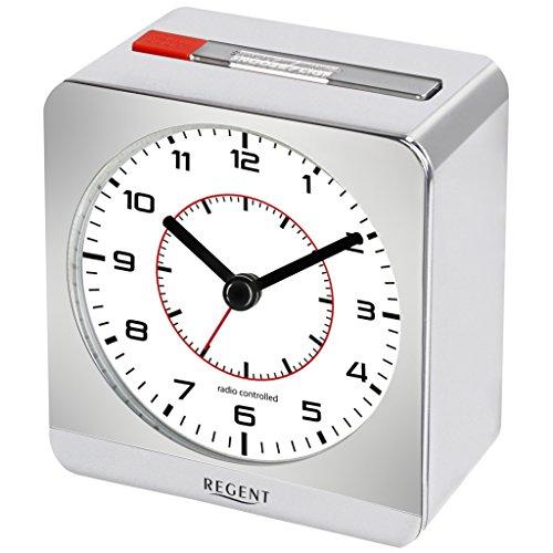Regent 44-860-19 Primus Funk Wecker Funkwecker Kunststoff Analog Licht Alarm Silber