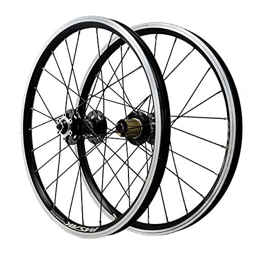 ZPPZYE Ruedas de Bicicleta 20 Pulgadas Llanta MTB, Aleación de Aluminio Freno V Rueda Híbrida/de Montaña 24 Hoyos para 7/8/9/10/11/12 Velocidad (Color : Black, Size : 20 Inch)