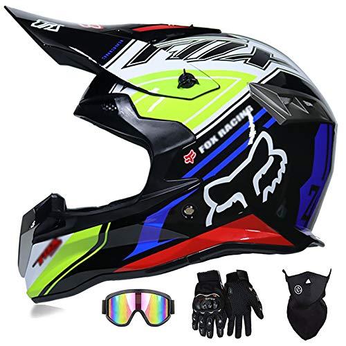 Super-ZS Casco De Moto, con Gafas + Guantes + Máscara Casco De Moto De Rally Profesional Black Fox Casco Extraíble Y Ligero para Adulto