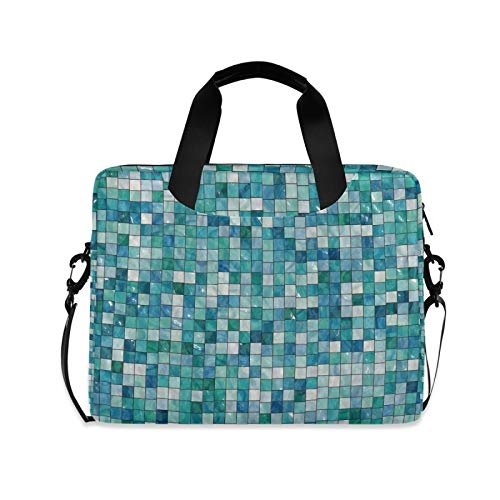 Laptp Case Art Checkered Blue And White Laptop Bag 15.6 inch 360° Protective Computer Bag with Shoulder Strap for Men Women