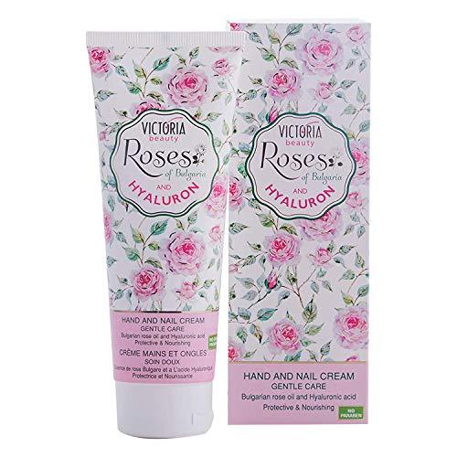 Victoria Beauty - Handcreme für sehr trockene und rissige Hände, Nagelcreme mit Rosenöl, Hyaluron Creme, optimale Handpflege und Nagelpflege (1 x 100 ml)