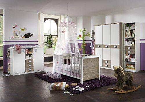 Wimex Babyzimmer Set Jalta, bestehend aus Schrank, Babybett, Umbauseiten, Wickelkommode und Regal, Liegefläche 70x140 cm, Weiß/ Absetzung Eiche Sägerau