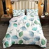 Juego de edredón de diente de león de 2 piezas para niños y niñas, estilo fresco y natural, cómodo juego de cama con estampado floral botánico acolchado con 1 funda de almohada, tamaño individual