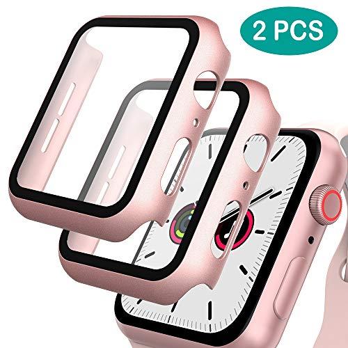 GeeRic 2PCS Pellicola Vetro Temperato Compatibile per Apple Watch 40mm Serie 4/5, HD Cover Resistente a Urti Pellicola Copertura Completa Custodia Com