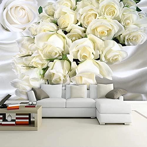 Mural Romántico Rosa Flores Dormitorio Moderno Sala De Estar Sofá Tv Decoración De Fondo Papel Tapiz De Tela De Seda Fondo De Arte De Pared Wallpaper 350X256Cm