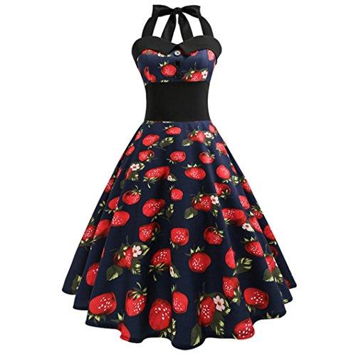 ESAILQ Damen Erdbeere Printed Sleeveless Neckholder Rockabilly 50er Vintage Rockabilly Kleider Retro Kleid Petticoat Faltenrock