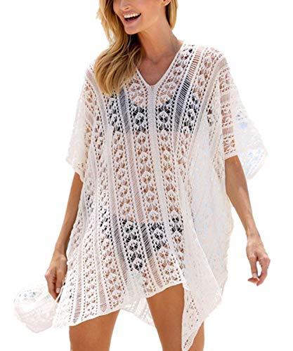 YouKD Túnica de Punto Hueco para Mujer Tops de Ganchillo Transparentes Poncho de Cubierta de Playa Vestido de Verano para la Playa