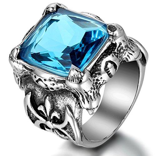 JewelryWe Schmuck Herren-Ring, Edelstahl Glas, Gotik Drachen Klaue Fleur de Lis, Blau Silber, Größe 62