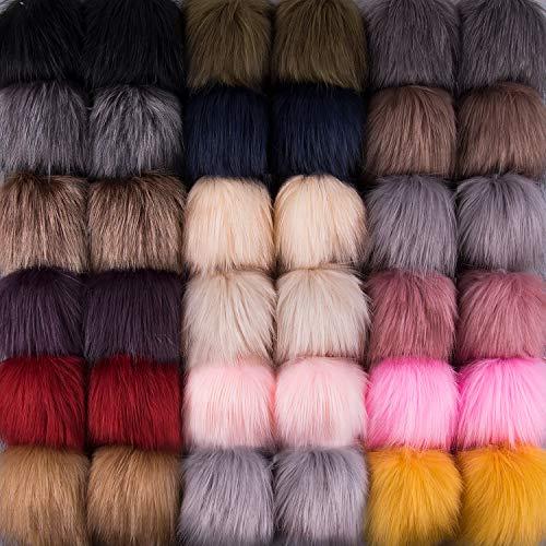 SIQUK 36 Piezas Bola de Pompón Artificial piel Bola Pompones para Bolsos Llaveros, 18 Colores