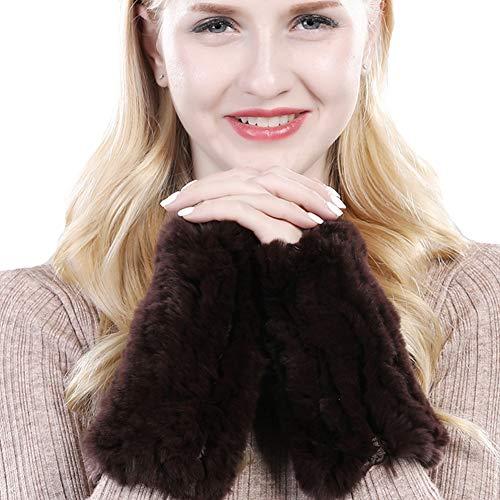 Valpeak Womens Rabbit Fur Winter Mittens Knitted Fingerless Gloves(Brown)