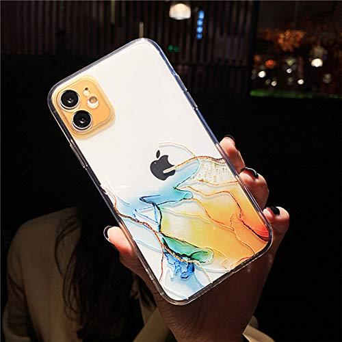 LIUYAWEI Funda para teléfono con Pintura de Acuarela para iPhone 12 11 Pro MAX XR XS MAX Funda Transparente a Prueba de Golpes para iPhone 8 7 Plus 12 Mini contraportada, T5, para iPhone SE 20