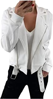 Howely Women Zipper Skinny Lapel Pure Colour Bomber Wrap Coat Jacket Coats