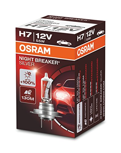 OSRAM 1 H7 B 55W12V+100, Night Breaker Silver, Estuche plegable (1 lámpara)