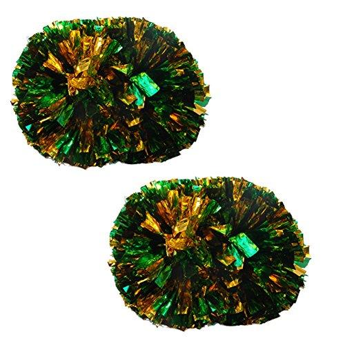 Verde + Oro Colorato Grande bastone in plastica manico Cheerleading Poms 120g (la coppia)