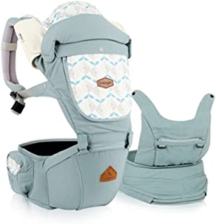 I-angel Miracle Baby Carrier Hipseat Front Backpack Carrier Ergonomic Design for Parents,Sleeping Hood,Organic Cotton Teething Pads (Powder-Blue)