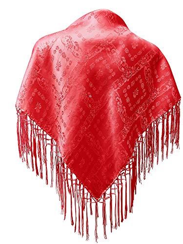 Trachten Mayr Seidentuch Dirndl-Trachtentuch Tuch hell-rot 75x75cm Dirndltuch Seide Fransentuch für Tracht Trachtenseidentuch hellrot mit Fransen Schultertuch Halstuch rot silk clouth hochwertigste Qualität!