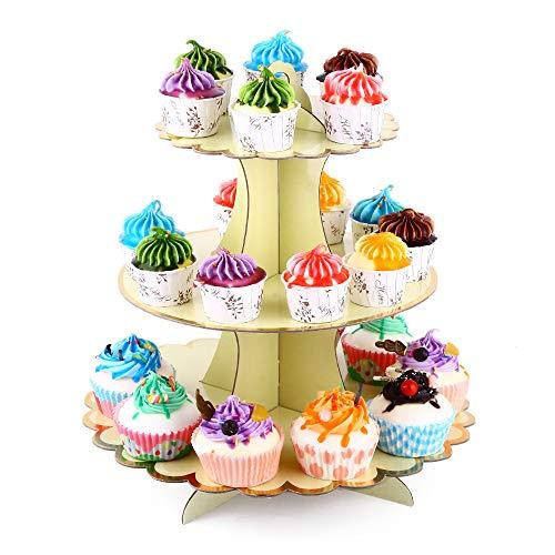 "Hanlanbo 3-Tier Pink Blue Yellow Round Cardboard Cupcake Stand Dessert (12""W x 12.8""H) Birthday Wedding Special Event Decoration (Reusable) (Yellow)"