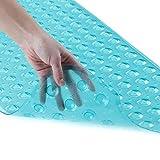 SlipX Solutions El tapete de baño extralargo agrega una tracción Antideslizante a Las tinas y duchas: ¡30% más Que Las esteras estándar! (200 Ventosas, 99 cm de Largo - Aqua)