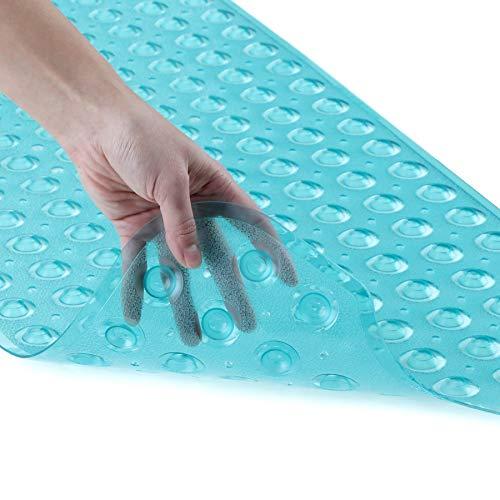 SlipX Solutions Il Tappetino da Bagno Extra Lungo aggiunge trazione Antiscivolo a vasche e docce - 30% in più Rispetto ai tappetini Standard! (200 Ventose, 99 cm di Lunghezza, Aqua)