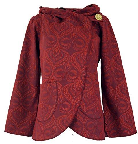 GURU SHOP Cape Wickeljacke, Damen, Rot, Baumwolle, Size:XL (42), Boho Jacken, Westen Alternative Bekleidung