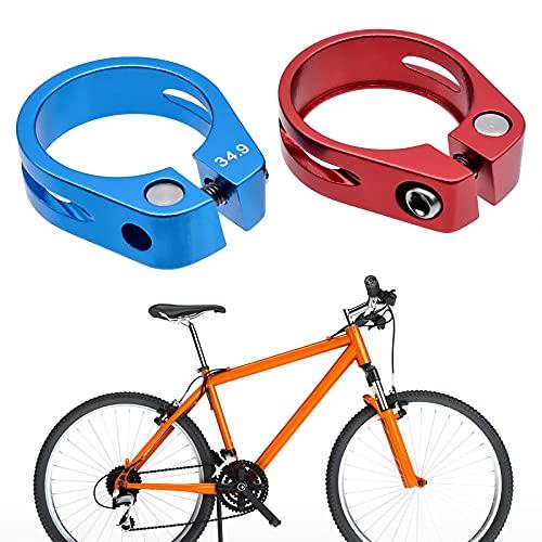 JJYHEHOT Abrazadera Para Sillín De Bicicleta, Adecuada Para 30,8 mm / 31,6 mm, Anillo De Abrazadera De Tija De Sillín De Aleación De Aluminio (Rojo + Azul)
