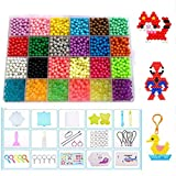 Queta 24 Couleurs Perles de Recharge pour Aqua Pearl Colors Craft Sticky Beads for Kids Children DIY Crafting Educational DIY Toys(3200pcs) (avec Accessoires)
