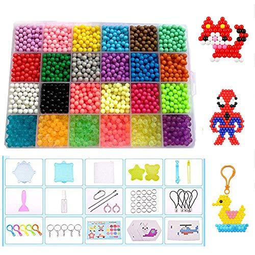 Queta Abalorios Cuentas de Agua 3200 Perlas 24 Colors Fusible Beads Kit con Accesorios DIY de Agua Craft Sticky Kit Set para Niños Niños Crafting Juguetes Educativos