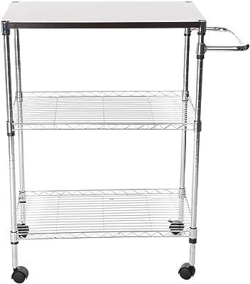 Blueseao Multi-Function Storage,Wheeled Wooden Cart Storage Rack Kitchen Supplies Storage Rack