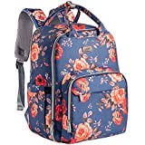 Diaper Bag Backpack, Kaome Diaper Bags for Baby Girl, Multifunction Large Capacity Maternity Baby Bag Waterproof and Stylish with 16in Laptop Pocket, Changing Nursing Pad and USB Charging Port-Floral
