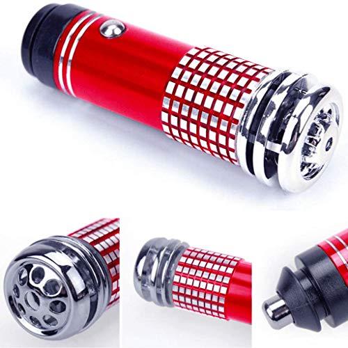 Car Air Purifier Ionizer - 12V Car Air Freshener & Odor Neutralizer - Plug in Moisture Absorber, Odor Eliminator & Deodorizer for Car - Auto & RV Ionic Ozone Odor Remover (Red)