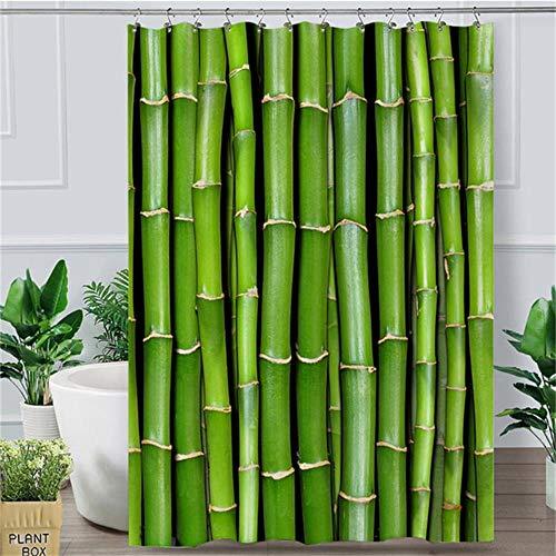 LCZMQRCLMZRQBamboe douchegordijn groen vitaliteitsgordijn met badkamerhaak 3D gedrukte plant natuurlijk watergordijn, 1.180x200cm