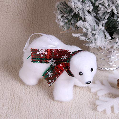 AMhomely Christmas Decorations Sale Mini Cute Plush White Bear Christmas Tree Pendant Decoration Home Decoration Merry Christmas Decorative Xmas Decor Ornaments Party Decor Gifts for Kids UK