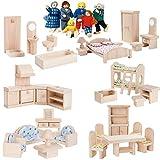 Plantoys Puppenhausmöbel Set Classic XXL aus Holz + Biegepuppen - Fürs Puppenhaus