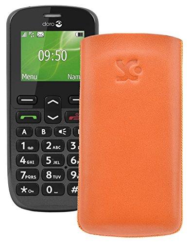 Original Suncase Tasche für / Doro PhoneEasy 508 / Leder Etui Handytasche Ledertasche Schutzhülle Hülle Hülle *Lasche mit Rückzugfunktion* orange